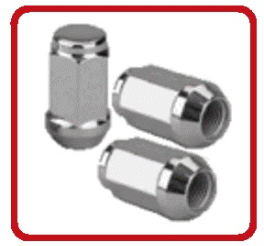 "NUT CONE 60° 1/2-20 CHROME ACORN Locking Wheel Nut with Key 1.45"" OVERALL LENGTH"